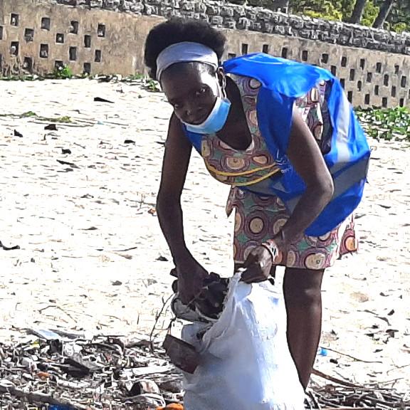 Carolyne Wamaer from Sana Mare clean-up team in Mombasa